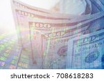 double exposure US dollars and finance stock market graph .money and investment concepts - stock photo