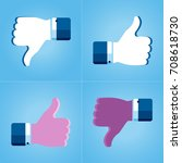 thumbs up like dislike icons... | Shutterstock .eps vector #708618730