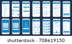 mobile app wire frame ui kit.... | Shutterstock .eps vector #708619150