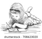 child girl writing in note book ... | Shutterstock .eps vector #708623020