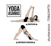 vector set of yoga poses on... | Shutterstock .eps vector #708624970