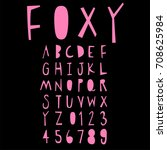 doodle alphabet fun font | Shutterstock .eps vector #708625984