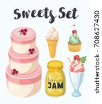 vector cartoon set of delicious ... | Shutterstock .eps vector #708627430