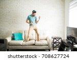 modern man listening to music...   Shutterstock . vector #708627724