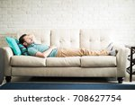 young adult man in a casual... | Shutterstock . vector #708627754