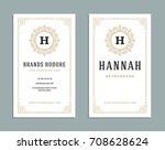 business card vintage ornament... | Shutterstock .eps vector #708628624