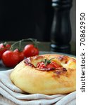 Italian pizza  bread with tomato and cheese on the board - stock photo