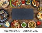 dinner table. various snacks of ...   Shutterstock . vector #708631786