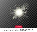 glowing realistic light effect... | Shutterstock .eps vector #708632518