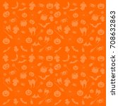 seamless pattern from halloween ... | Shutterstock . vector #708632863