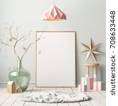 mock up poster in the christmas ... | Shutterstock . vector #708633448
