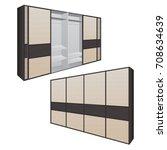 sliding door wardrobe for... | Shutterstock .eps vector #708634639