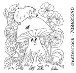 vector illustration zentangl.... | Shutterstock .eps vector #708635290