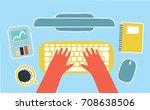 vector cartoon human hands on... | Shutterstock .eps vector #708638506