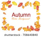 decorative frame of oak tree... | Shutterstock .eps vector #708640840
