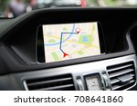 gps map system on  screen in... | Shutterstock . vector #708641860