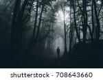 man shadow in dark scary...   Shutterstock . vector #708643660