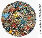 cartoon vector doodles cinema...   Shutterstock .eps vector #708644086