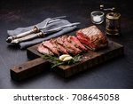 sliced tenderloin meat roast... | Shutterstock . vector #708645058