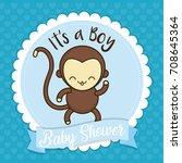 baby shower card  | Shutterstock .eps vector #708645364
