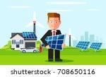 business man employee of solar... | Shutterstock .eps vector #708650116