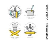 cooking class linear design... | Shutterstock .eps vector #708653836