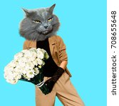 gentleman cat. vintage clothing.... | Shutterstock . vector #708655648
