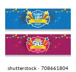 festival offer big sale banner... | Shutterstock .eps vector #708661804