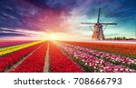 windmill at sunrise in... | Shutterstock . vector #708666793