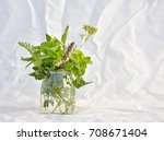 fresh green herbs in the glass | Shutterstock . vector #708671404