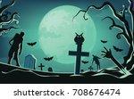 halloween background  vector... | Shutterstock .eps vector #708676474