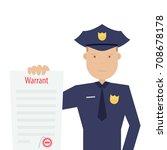 police officer holding arrest... | Shutterstock .eps vector #708678178