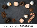rustic christmas decorations... | Shutterstock . vector #708678664