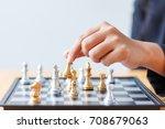 close up shot hand of business... | Shutterstock . vector #708679063