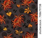 halloween seamless pattern with ...   Shutterstock .eps vector #708679738