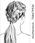 styles braided hairstyle | Shutterstock .eps vector #708679936