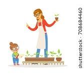 cute little girl helping her... | Shutterstock .eps vector #708684460