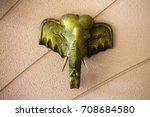 elephant head on wall...   Shutterstock . vector #708684580