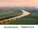 Sugarloaf Mountain overlooking Connecticut River in the fall at sunset