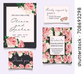 save the date cards  wedding... | Shutterstock .eps vector #708693298