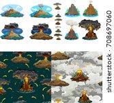 a set of volcanoes of varying... | Shutterstock .eps vector #708697060