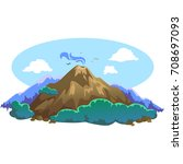 a set of volcanoes of varying... | Shutterstock .eps vector #708697093