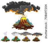 a set of volcanoes of varying... | Shutterstock .eps vector #708697204