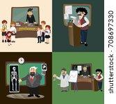 professor teaching at the... | Shutterstock .eps vector #708697330