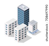set of modern isometric... | Shutterstock .eps vector #708697990