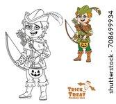 cute boy in robin hood costume... | Shutterstock .eps vector #708699934