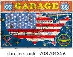 old route sixty six garage sign ... | Shutterstock .eps vector #708704356