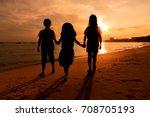 silhouette of little kid girls... | Shutterstock . vector #708705193