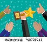 businessman holding star trophy ... | Shutterstock .eps vector #708705268