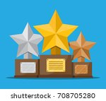 trophy winner gold silver and... | Shutterstock .eps vector #708705280